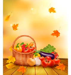 Autumn vegetables background vector image