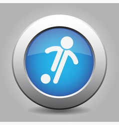 blue metal button with football soccer player vector image