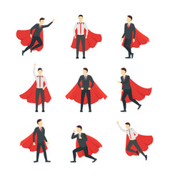 cartoon businessman superhero characters icon set vector image