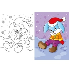 Coloring Book Of Bunny Sitting In The Snow vector image vector image