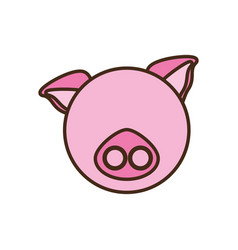 face pig cartoon animal vector image vector image