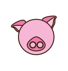 Face pig cartoon animal vector