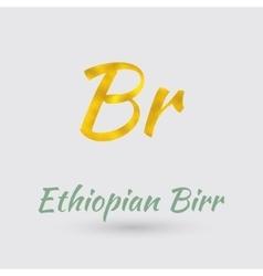 Golden Symbol of Ethiopian Birr vector image