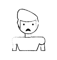 skecth boy son sad face vector image vector image