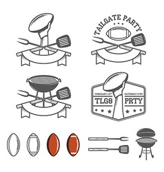 Tailgate party design elements set vector