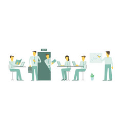 visit in office looked into the room people are vector image vector image