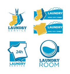 24h laundry room service isolated promotional vector image