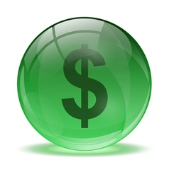 3D glass sphere and green dollar icon vector