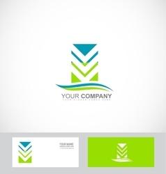 Abstract arrow logo green blue icon vector
