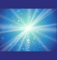 abstract light rays and dust blue background vector image