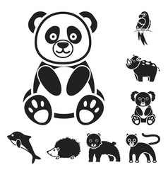 an unrealistic animal black icons in set vector image