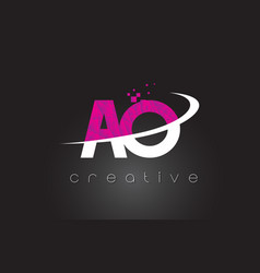 Ao a o creative letters design with white pink vector