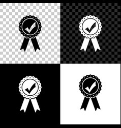approved or certified medal with ribbons and check vector image