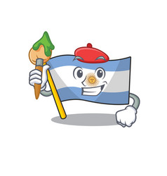 Artist flag argentina cartoon shaped mascot vector