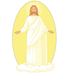 ascension of jesus christ on cloud with arms open vector image