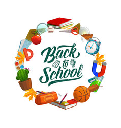 Back to school lettering education study supplies vector