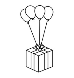 balloon air party with giftbox icon vector image