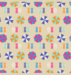 Beach umbrellas top view seamless pattern vector