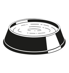 Black and white pet water bowl silhouette vector