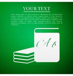 Book flat icon on green background vector image
