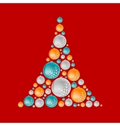 Bright abstract fir tree from Christmas balls vector image