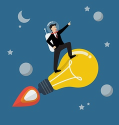 Businessman astronaut on a moving lightbulb idea vector image