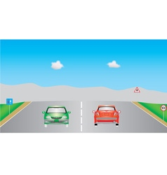 Cars on highway vector image