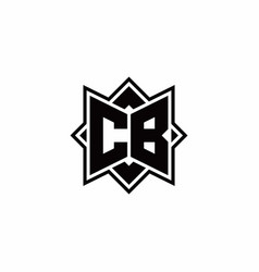 Cb monogram logo with square rotate style outline vector