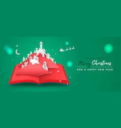 Christmas new year paper cut book village card vector