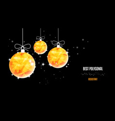 christmas polygonal golden balls background of vector image