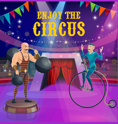 Circus poster strongman and vintage bicycle rider vector