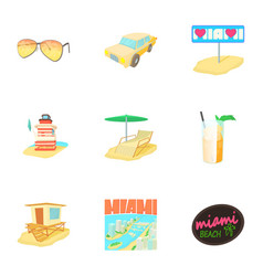 City miami icons set cartoon style vector