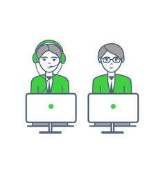 consultants man and woman consulting people icons vector image
