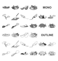 Cooking food monochrom icons in set collection for vector