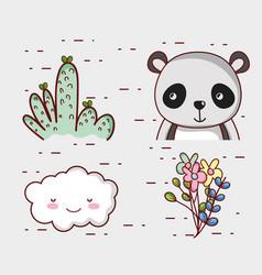 cute panda bear doodle cartoon vector image