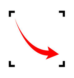 Declining arrow sign red icon inside vector