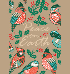 decorative christmas card with ornamental birds vector image