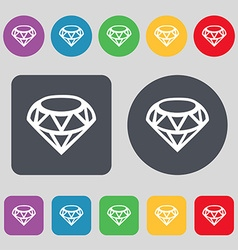 Diamond Icon sign A set of 12 colored buttons Flat vector