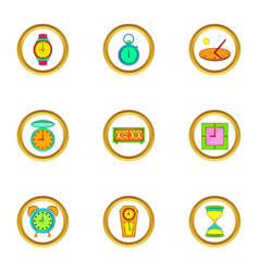 Different clock icons set cartoon style vector