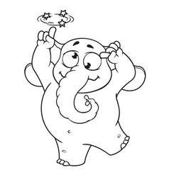 Elephant character gone crazy insane cartoon vector