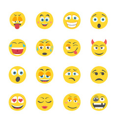 Emoji flat icons vector