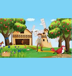 Farm scene with old farmer man and animals vector