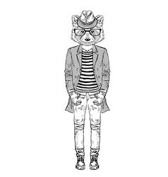 Fashion raccoon vector