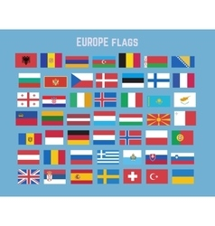 Flat collection of europe flag set vector image