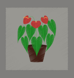 Flat shading style plant anthurium vector