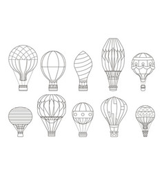 flight aerostat air balloon travel basket retro vector image