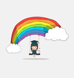 Girl graduated pupils swinging on a rainbow vector