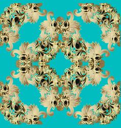 gold baroque seamless pattern light blue vector image