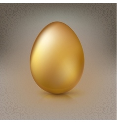 Golden egg on the background with floral pattern vector image