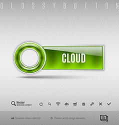 Green plastic button on the gray background design vector image